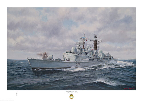HMS York firing her Mk 8 Mod 1 gun with bright cloudy sky and heavy sea.