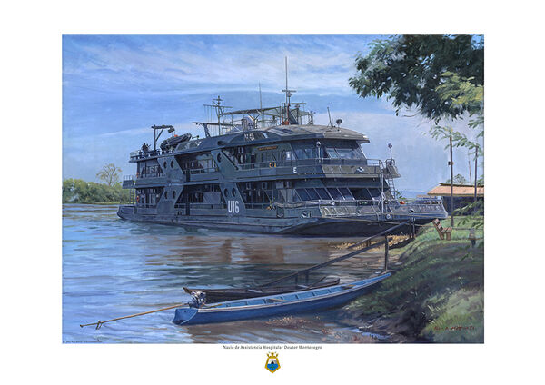 Hospital ship Dr. Montenegro, berthed on the Amazon