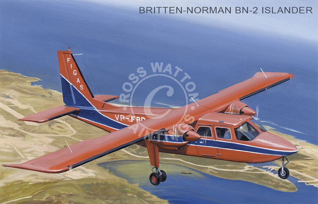 Britten-Norman BN-2 Islander over the Falkland Island coast line