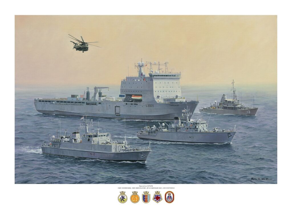Operation Kipion 2020 HMS Shoreham, HMS Brocklesby the USS Dextrous in company with RFA Cardigan Bay