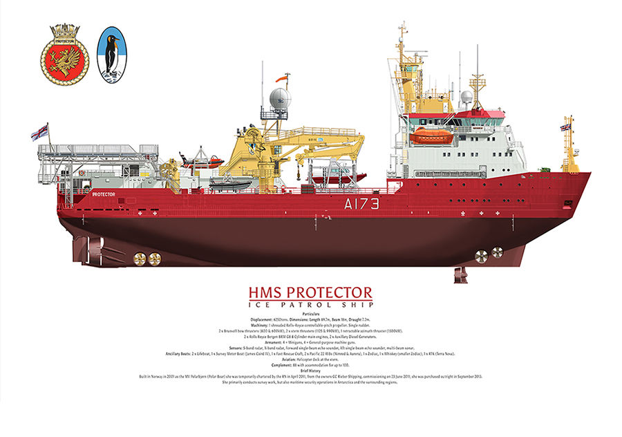 HMS Protector A173 side profile showing complete hull and ship's crest with penguin funnel emblem.