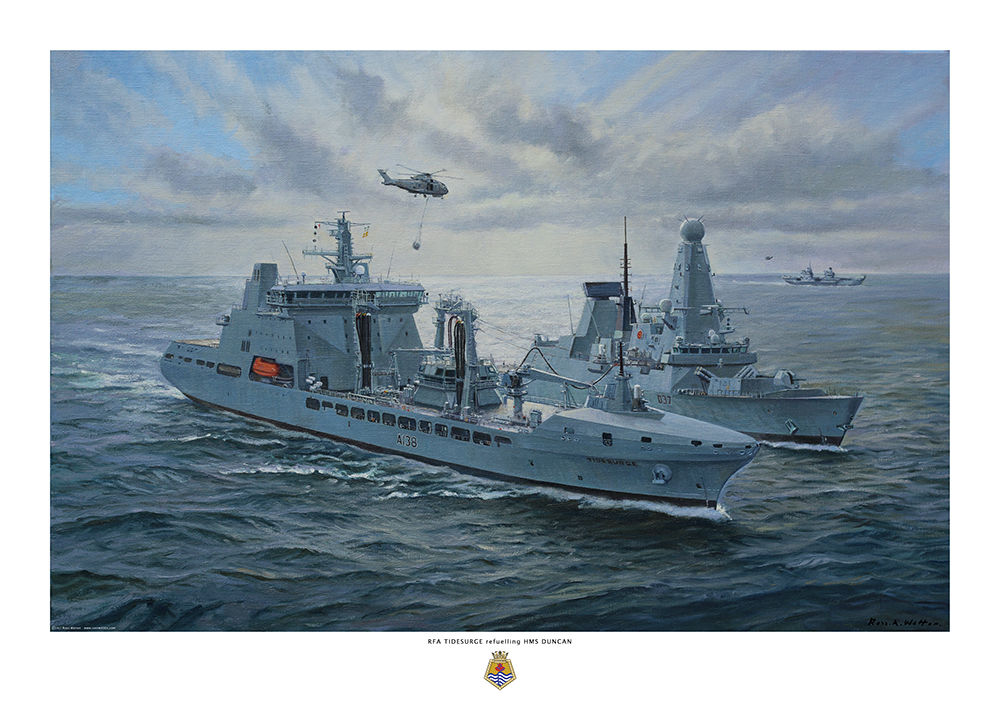 RFA Tidesurge refuelling HMS Duncan with sunburst behind in a greenish sea.