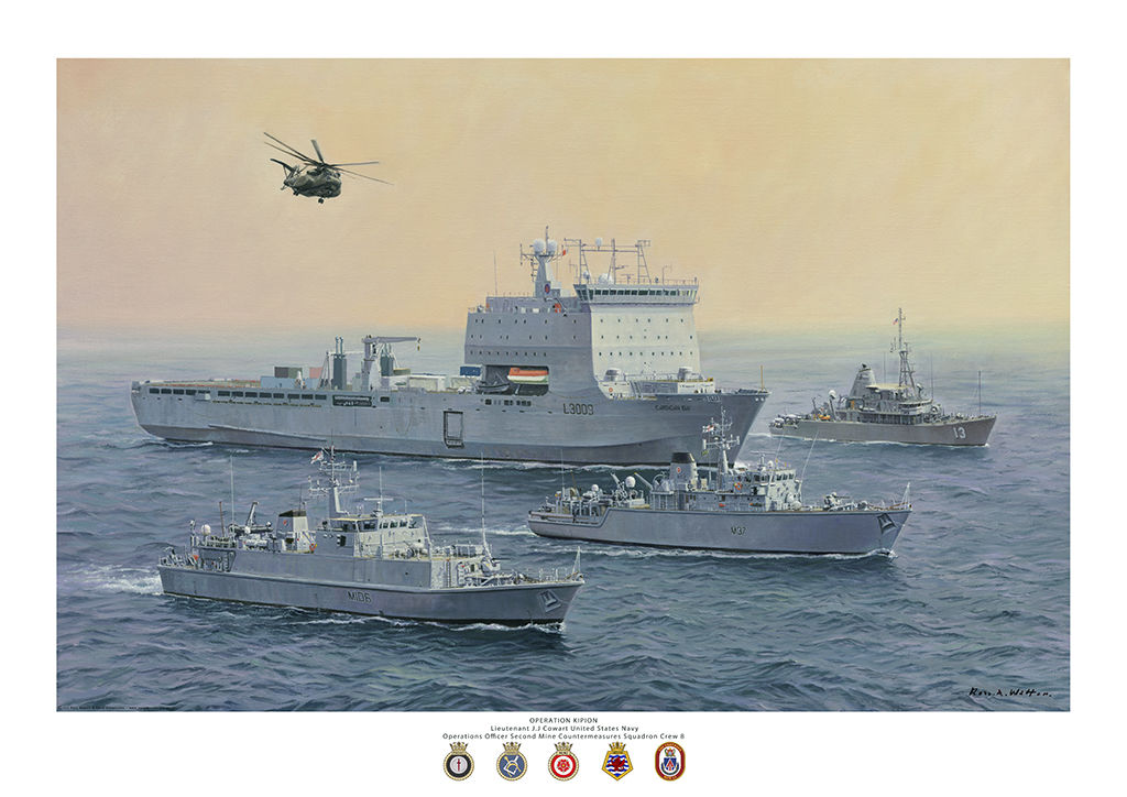 RFA CARDIGAN Bay with Mine Counter Measure vessels in the Gulf.