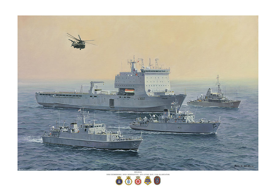 RFA Lyme Bay in the Gulf with MCMV Hunt-class, River-class and USN Archer-class ships.