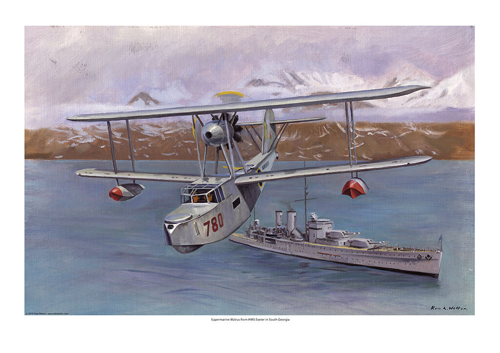 Supermarine Walrus airborne from HMS Exeter in South Georgia