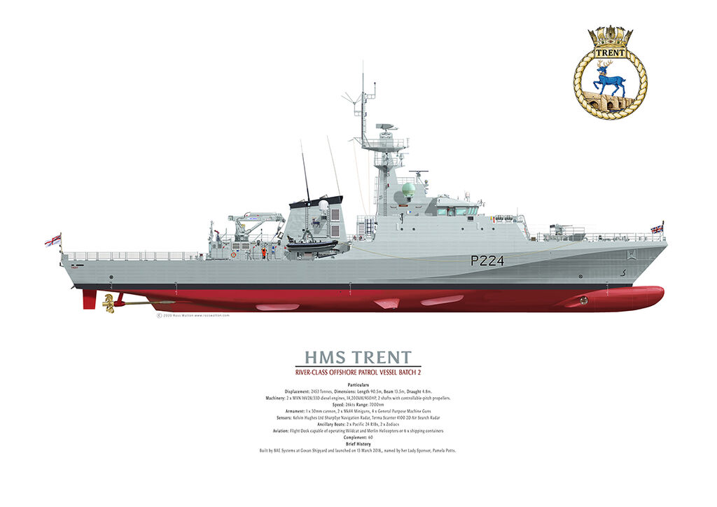 HMS TRENT starboard profile coloured drawing showing all the ship's details.