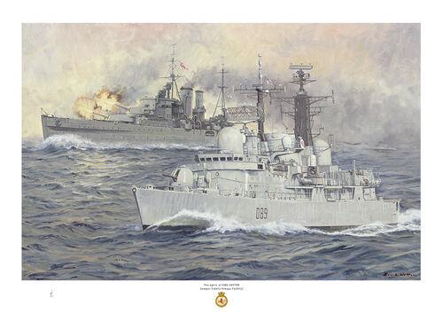 HMS Exeter D86 with the World War two cruiser behind firing her guns.