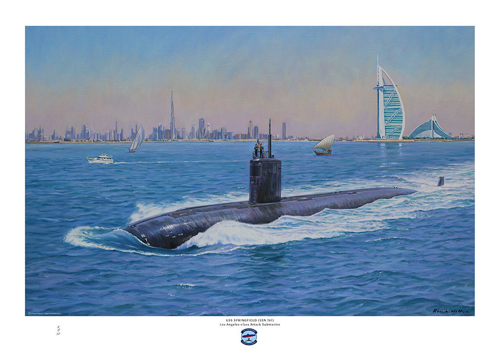 USS Springfield (SSN 761) on the surface as she leaves Dubai.