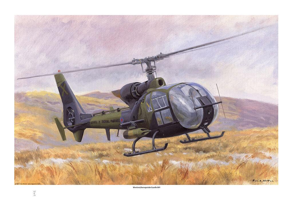 Westland Aérospatiale Gazelle AH1 airborne low over rough terrain