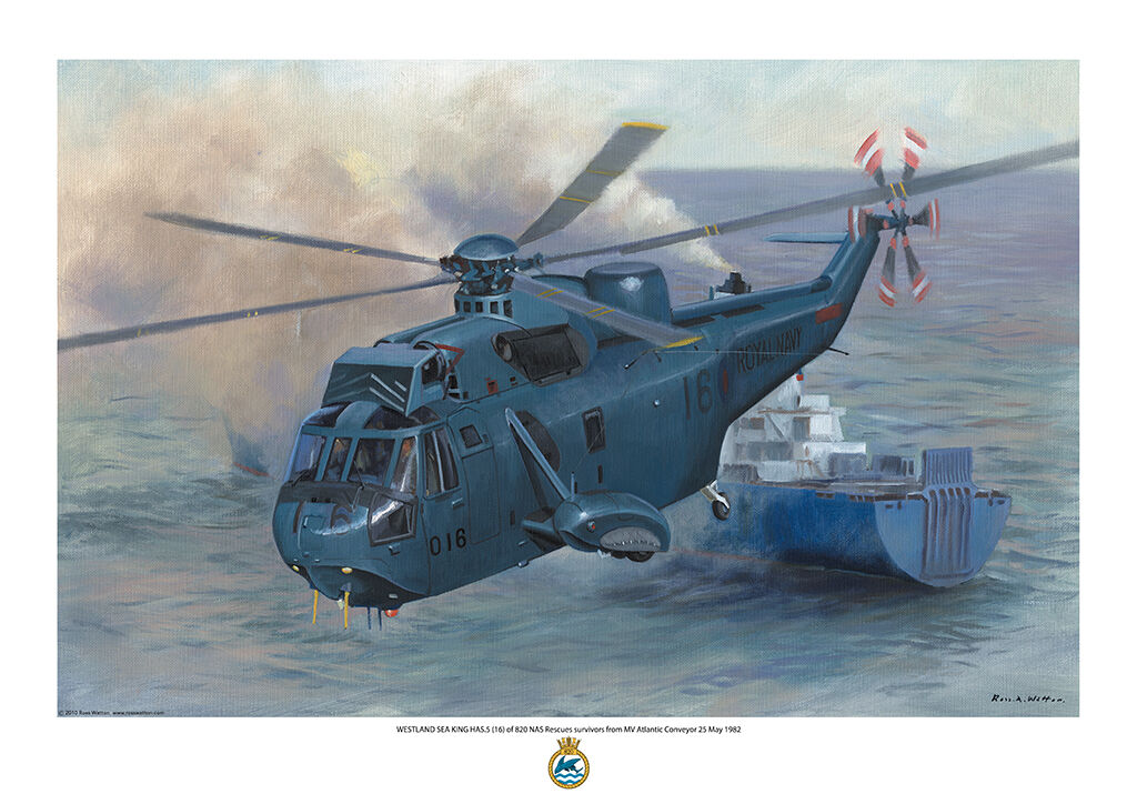 Estlan Sea King HAS5 (16) of 820 NAS Rescues survivors from MV Atlantic Conveyor 25 May 1982