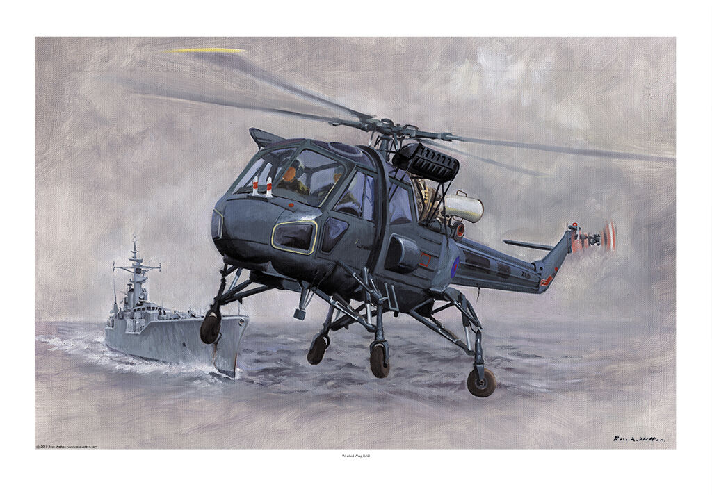 Westland Wasp helicopter with Rothesay-class Frigate