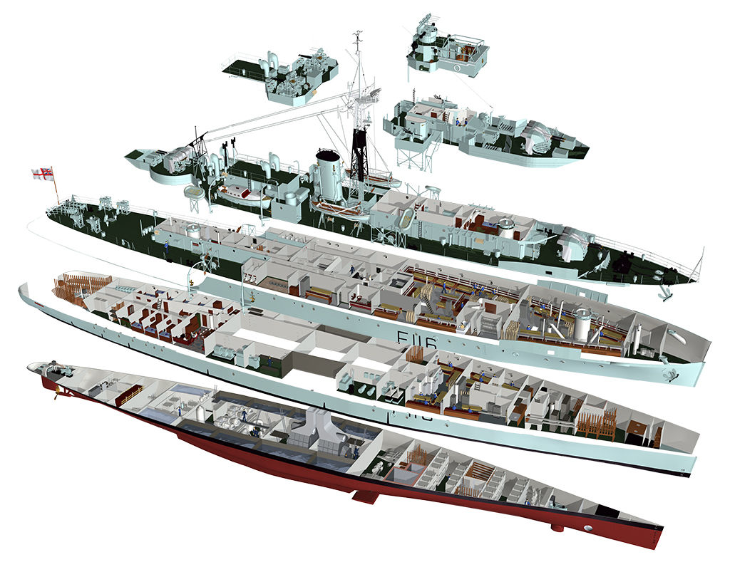 HMS Amethyst (cutaway) all six decks separated to show the living quarters and machinery spaces.