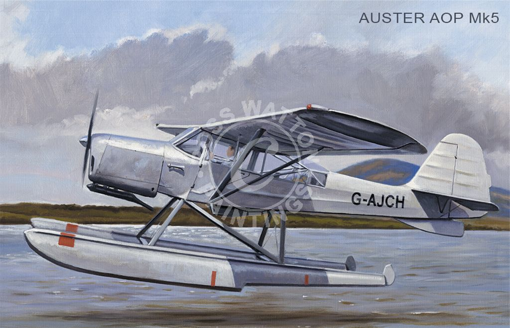 Auster AOP Mk5 taking off from water.