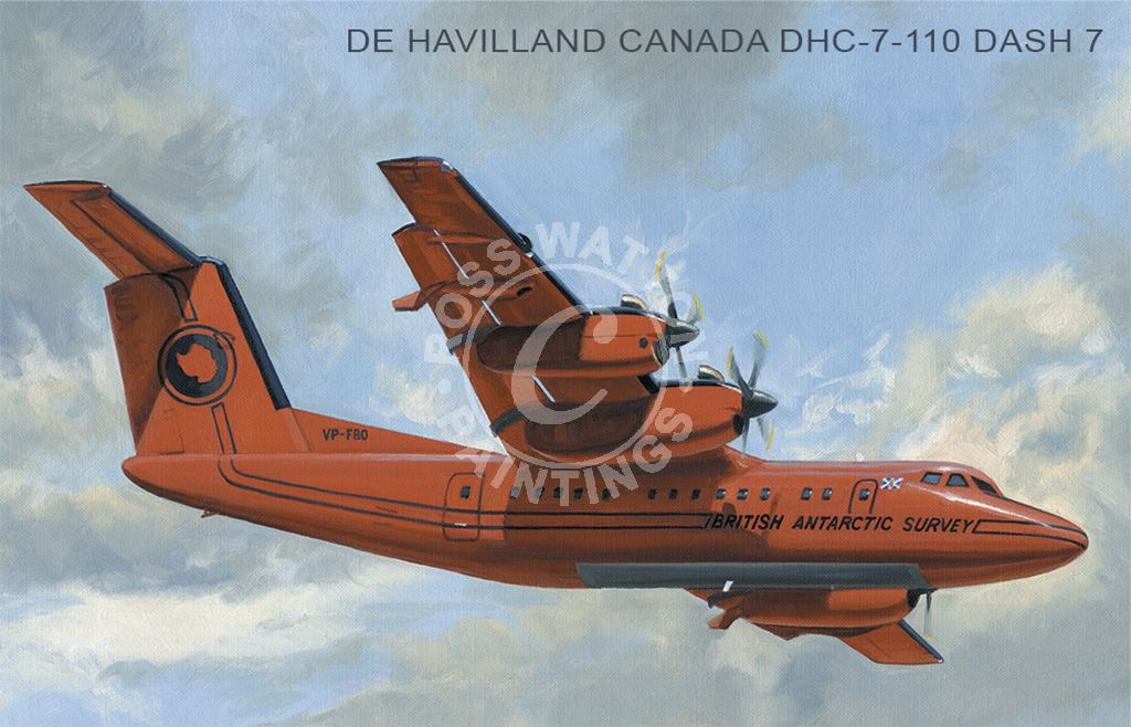De Havilland Canada DHC-7-110 Dash-7 in flight with a cloudy sky behind.