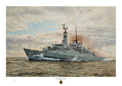 HMS Ardent at speed a port bow view with brown smoke and cloudy sky.