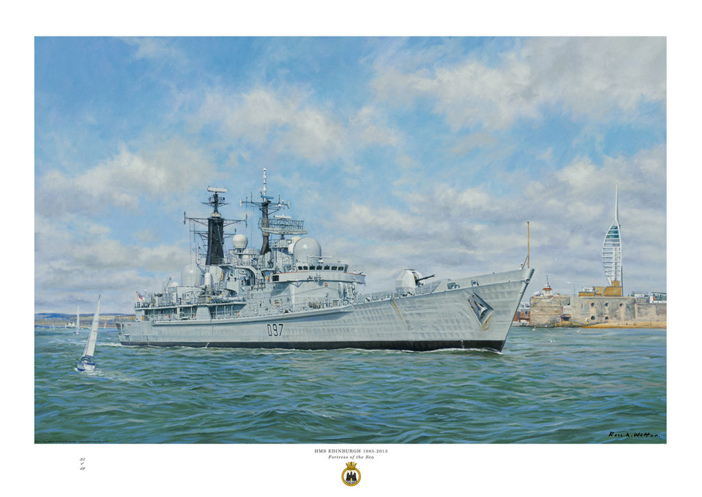 HMS Edinburgh leaving Portsmouth harbour on a sunny day passing the Round Tower.