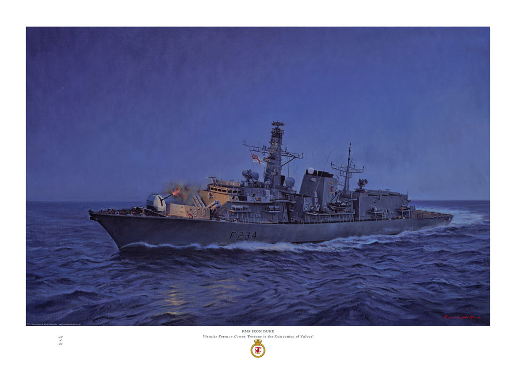 HMS Iron Duke at night with deep blue sky firing her gun which lights the ship.
