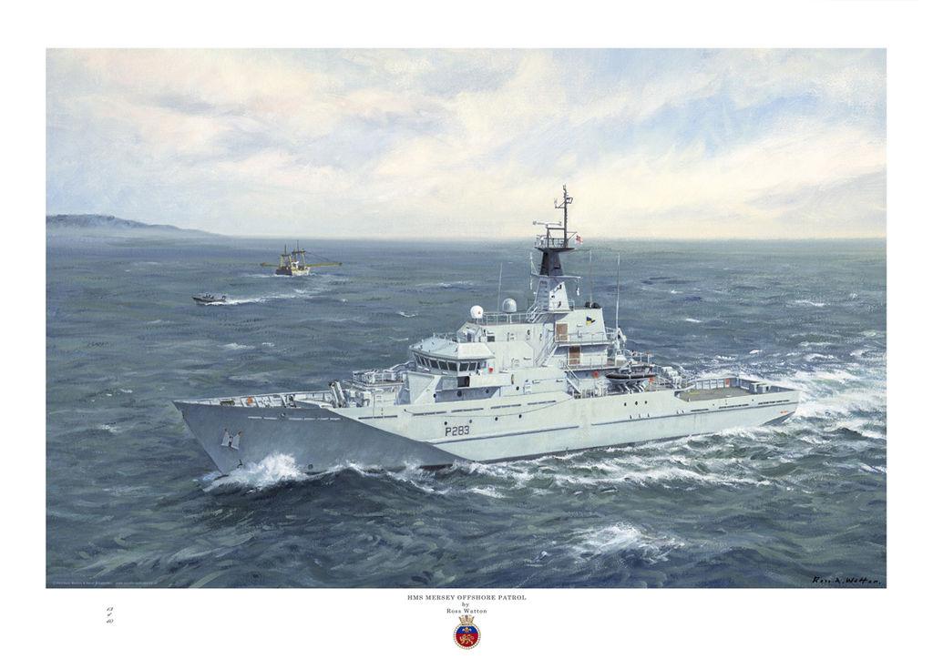 HMS Mersey on a dark green sea having sent her RIB to check a fishing boat.