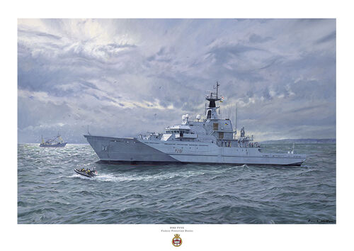 HMS Tyne in a heavy swell sending Gemini craft to investigate fishing boat as light breaks through a cloudy sky.