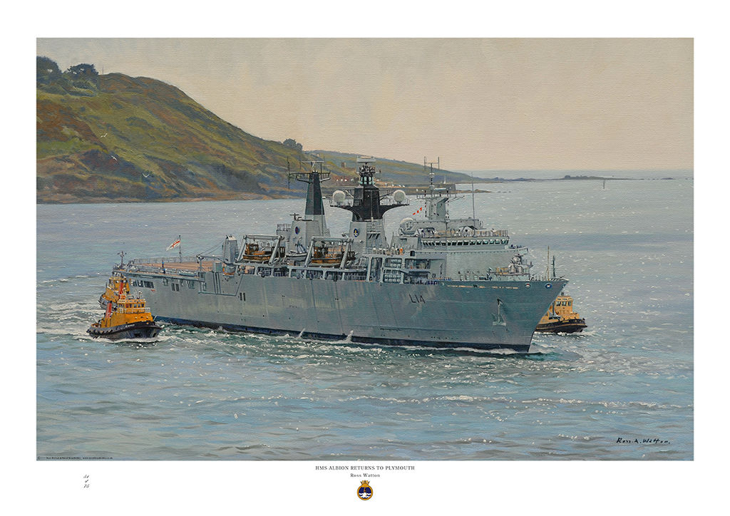 HMS Albion LPD entering Plymouth harbour with tugs and sparkling sea.