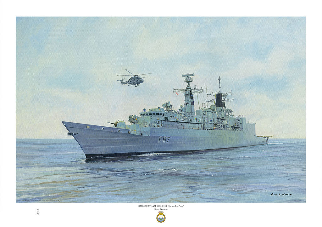 HMS Chatham on a calm sea with bright sky and Lynx helicopter airborne above.