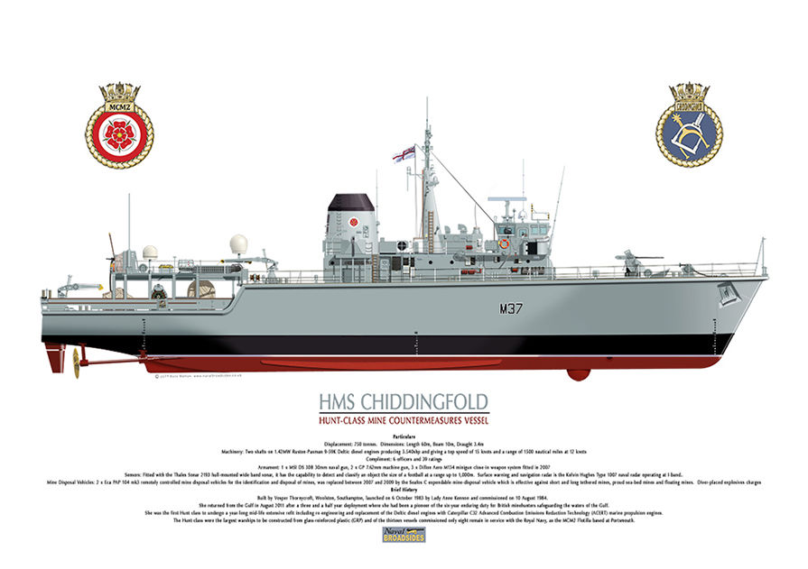 HMS Chiddingfold full starboard side hull view with ship's details and crest.