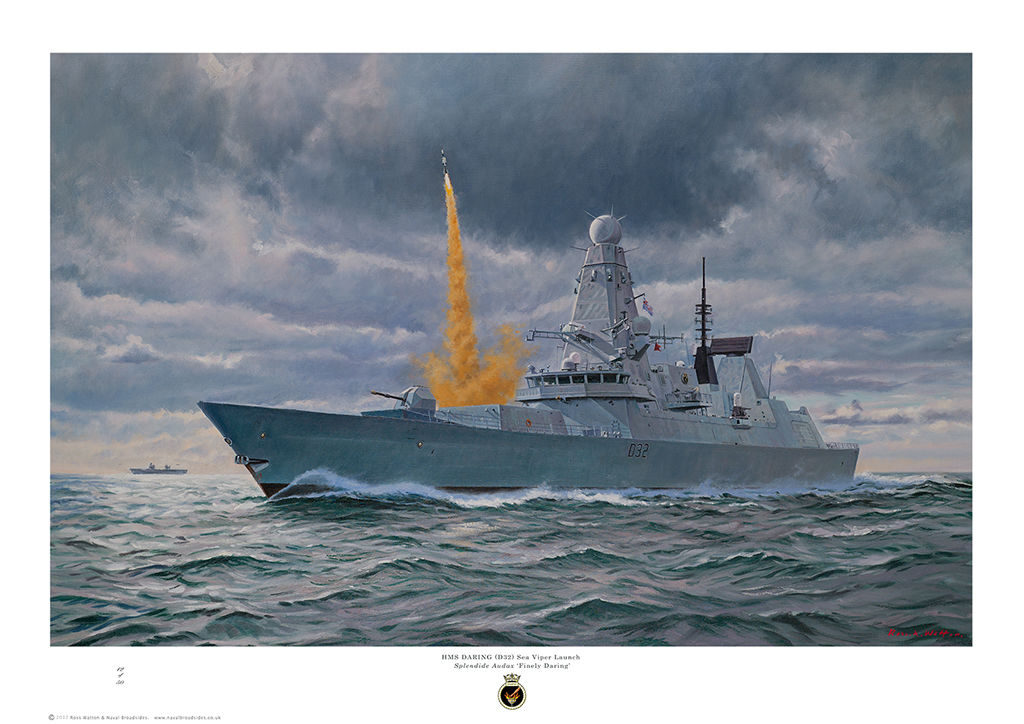 HMS Daring launching a Sea Viper missile into a stormy sky.