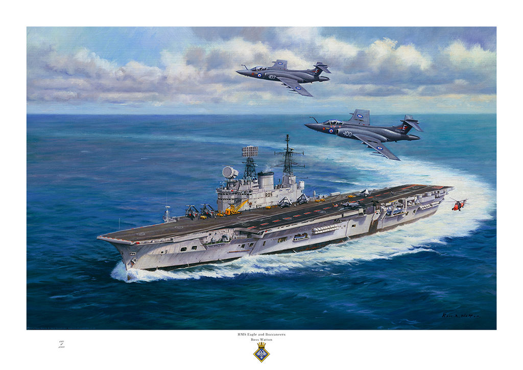 HMS Eagle turning to starboard with two Buccaneer jet aircraft flying over.