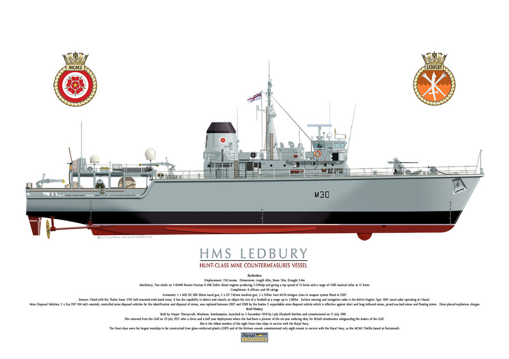 HMS Ledbury full starboard profile with Ship's crest.