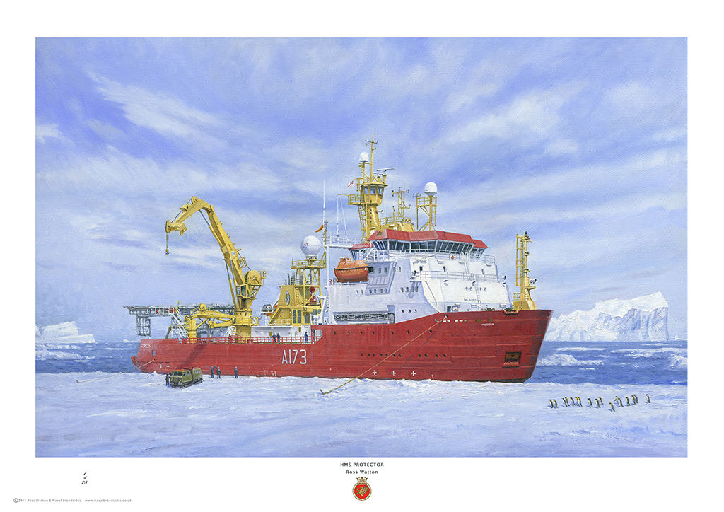 HMS Protector alongside Ice pack with men and equipment deployed, and penguins approaching.