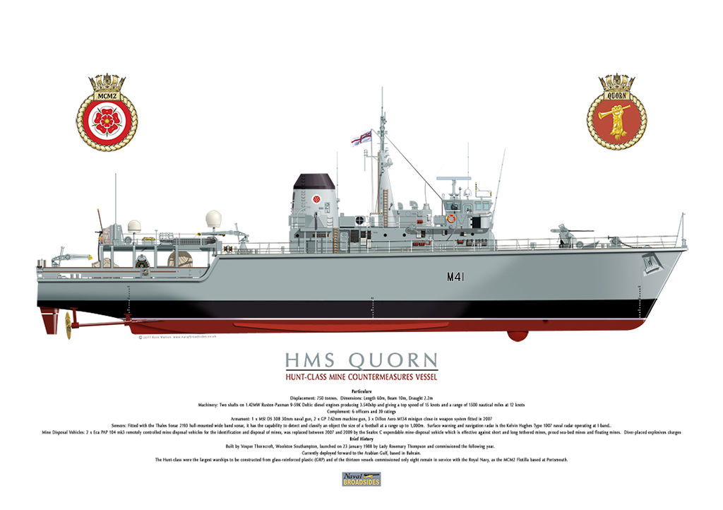 HMS Quorn colour starboard view with MCM2 and ship's crest.