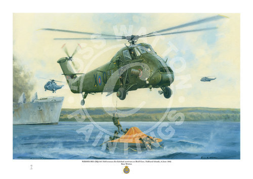Westland Wessex HU.5 saving survivors in a life-raft, from RFA Sir Galahad at Bluffs Cove Falklands Islands.