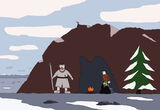 Amtuk and Hawkeye at the cave.