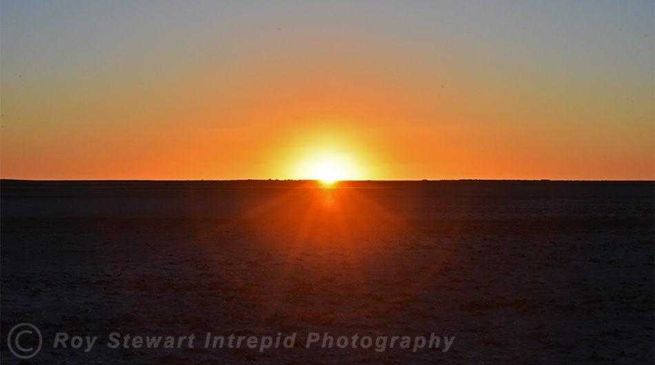 Sunset over Makadikgadi Pan, Botswana