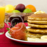 Pancakes, Fruit with Maple Syrup