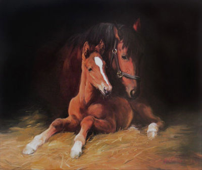 Mare and Foal by jacqueline Stanhope