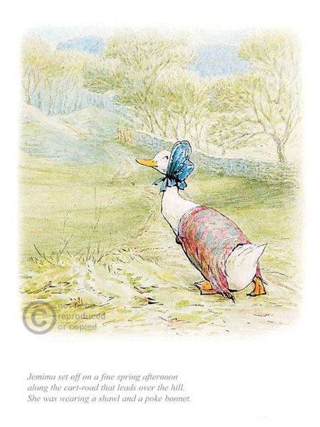 Jemima wearing a bonnet by Beatrix Potter