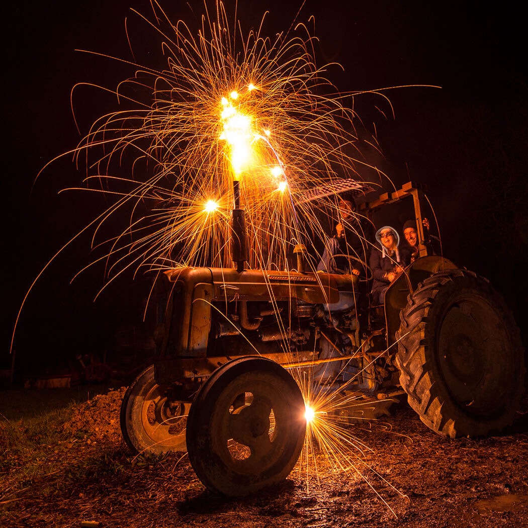 Exploding tractor