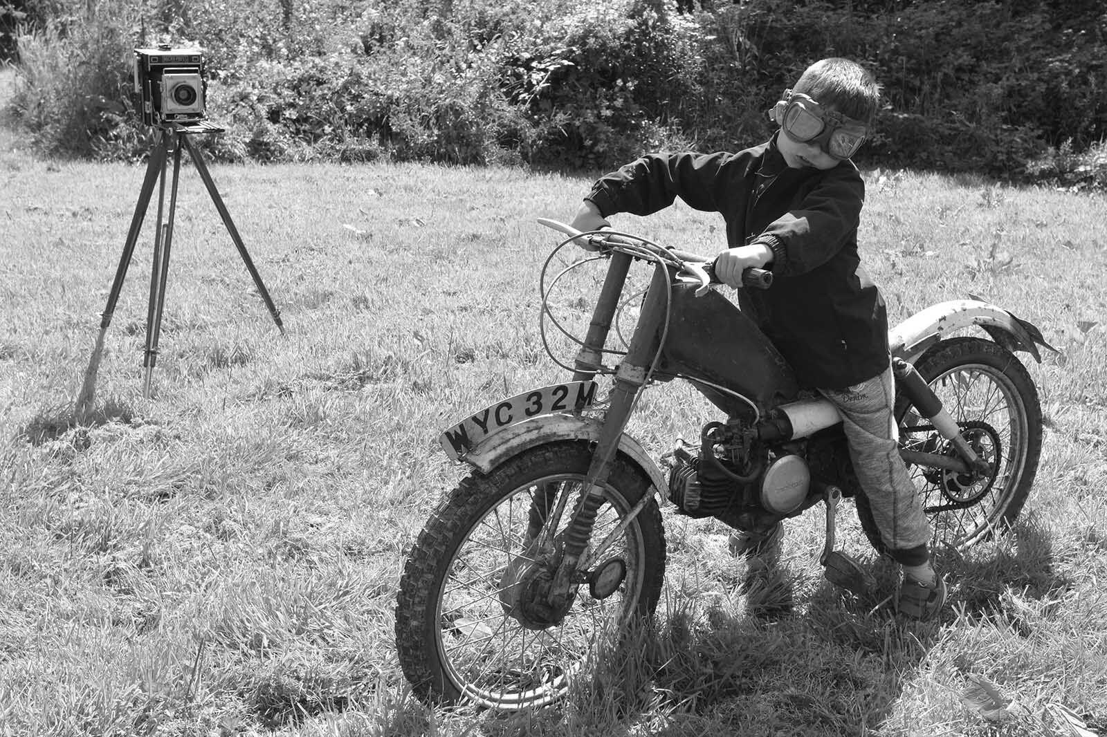 Young biker portrait