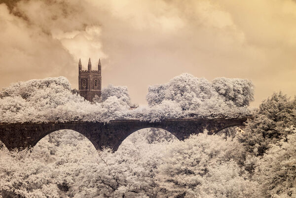 Holsworthy church and viaduct in infrared