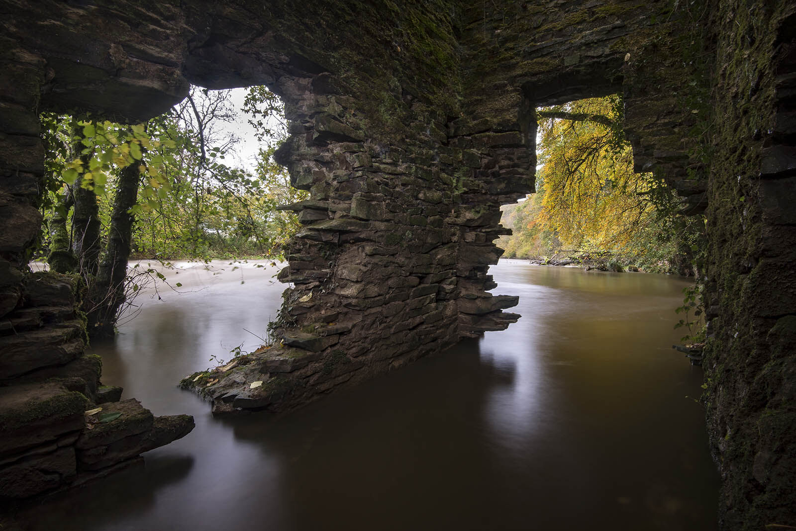 Halsdon ruin in flood