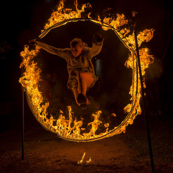 Minnow braves the fire hoop.
