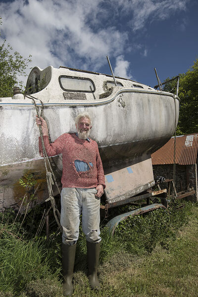 Dennis' boat (and jumper!).