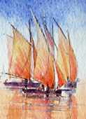 Fishing Boats Catching The Tide - Original watercolour