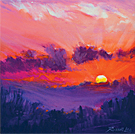 Magenta Sunset - Oil Pastel