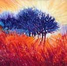 The Sun's Fiery Kiss To The Night - Oil Pastel