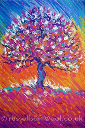 Russell Lee Painting Art Design Tree Of Life Pastel Sold