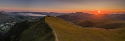 Panorama of sunset over Keswick and Skiddaw from Blencathra