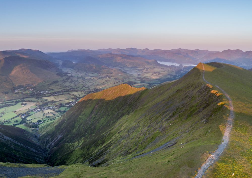 Sunrise over Derwentwater and Keswick from Blencathra