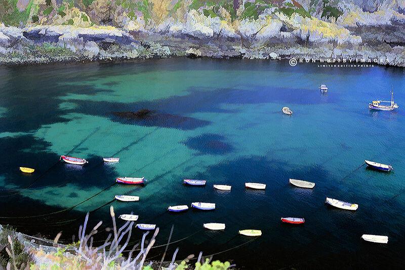Boats in Moulin Huet Bay Guernsey